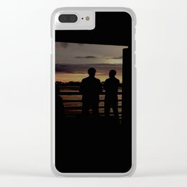 Human Silhouettes - Sunsets at The Fly series Clear iPhone Case