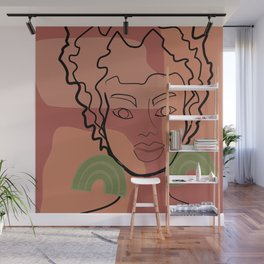 Ashley line art in mauve pink and green Wall Mural