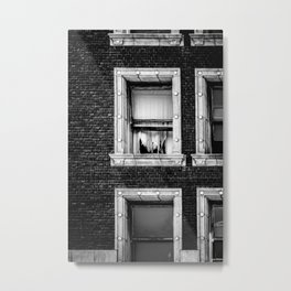 Brick Wall, Window, Torn Curtains in Los Angeles Metal Print
