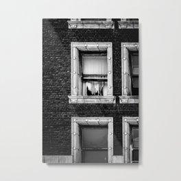Brick Wall, Window, Torn Curtains in Los Angeles Metal Print