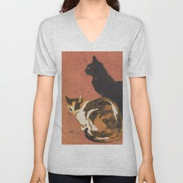 Vintage Two Cats Painting Steinlen Unisex V-Neck