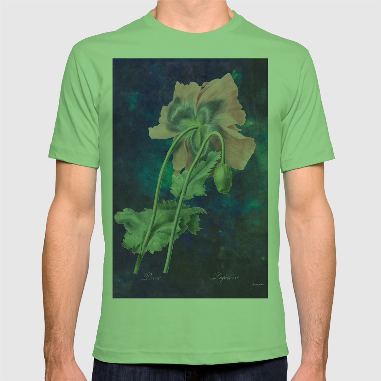 ee0d21adee927 French Poppy - Vintage Botanical Illustration Collage T-shirt