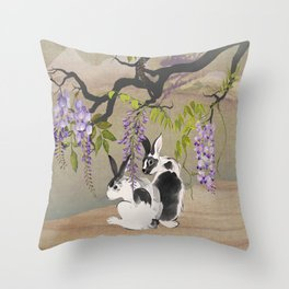 Two Rabbits Under Wisteria Tree Throw Pillow