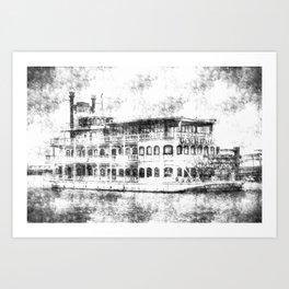 New Orleans Paddle Steamer Vintage Art Print
