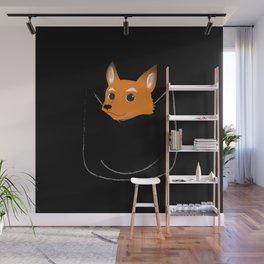 Fox in my pocket - on black Wall Mural