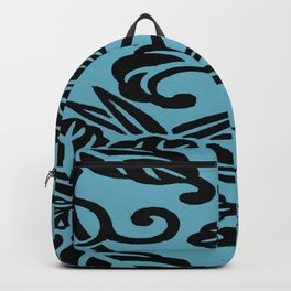 Aqua Black Japanese Leaf Pattern Backpack