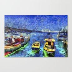 Boats and Sea Impressionist Art Canvas Print