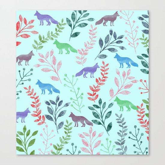 Watercolor Floral & Fox Canvas Print