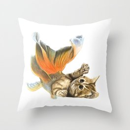 Purrmaid playing with its' tail Throw Pillow