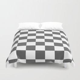 Checkered - White and Dark Gray Duvet Cover