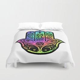 Colorful Mosaic Fish Hamsa Duvet Cover