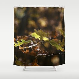 Oak leaves in forest with yellow colors in Autumn Shower Curtain