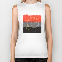 Abstract Paint Gradient with a Golden Skull Biker Tank