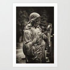 Jesus in the rain Art Print