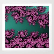 Fractal in Dark Pink and Green Art Print