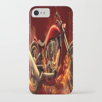motorbike iPhone & iPod Cases featuring FIRE MOTORBIKE by Acus