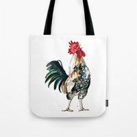 rooster Tote Bags featuring Rooster by Bridget Davidson
