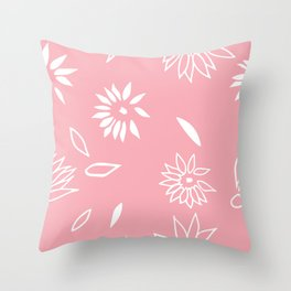 Powder Pink Floral Shapes 2 Throw Pillow