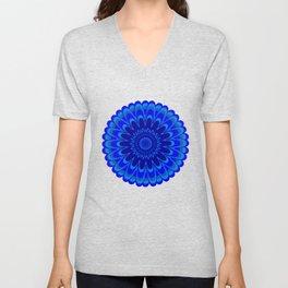 Summer Mandala Full Bloom Celebration in Vibrant Blue Unisex V-Neck