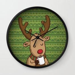 Christmas Deer Enjoying with Coffee Wall Clock