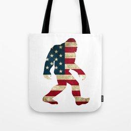 Bigfoot american flag Tote Bag