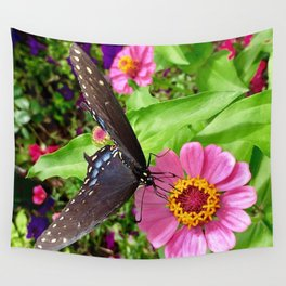 Butterfly on Pink Zinnia Wall Tapestry
