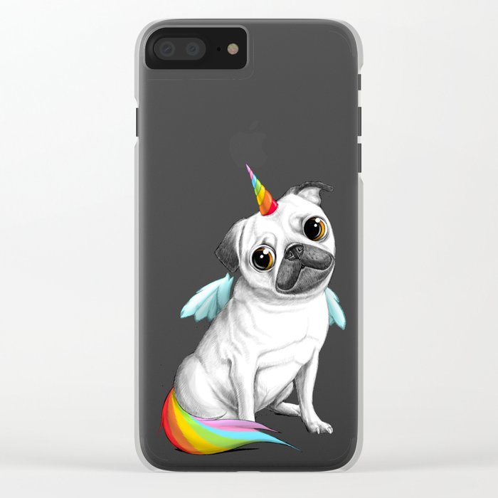 Pug unicorn Clear iPhone Case