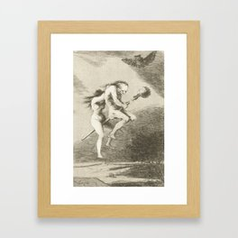 Witches on a Broomstick by Francisco Goya, 1797 Framed Art Print