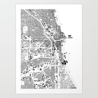 chicago map Art Prints featuring Chicago map by Maps Factory