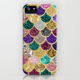 Mermaid Colorful Rainbow Scales Gold iPhone Case