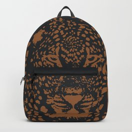 Midnight Leopard - Navy and Orange Leopard print By Kristen Baker Backpack