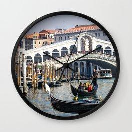 Italy Photography - Boats Traveling By Rialto Wall Clock