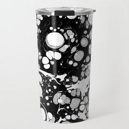 Artistic black white modern abstract paint pattern Travel Mug