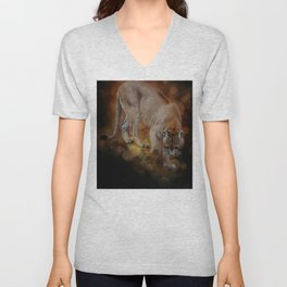 A Mountain lion's decent Unisex V-Neck