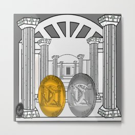Necropolis Coins Gold and Silver Metal Print