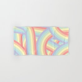 Soft Pastel Rainbow Stripes Pattern Hand & Bath Towel
