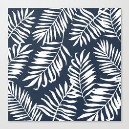 Tropical Palm Leaves - Palm Leaf Pattern - Navy Blue Canvas Print