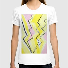 Etheral Black Lightning in Yellow and Pink Flash Field T-shirt