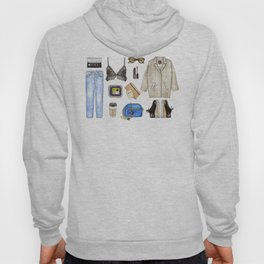 watercolor sketch. woman fashion outfit Hoody