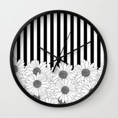 Daisy Stripe Wall Clock