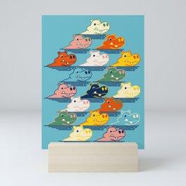 Happy Hippo Family Mini Art Print