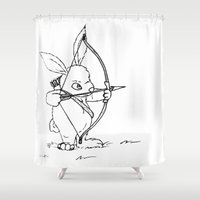 archer Shower Curtains featuring Bunny Archer by mikaelak