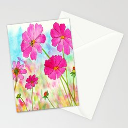Symphony In Pink, Watercolor Wildflowers Stationery Cards
