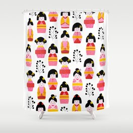 Kokeshi dolls cute pattern Shower Curtain