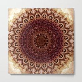 Mandala in brown and red tones Metal Print
