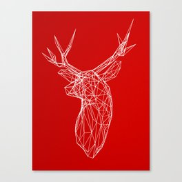 3D Stag Trophey Head Wire Frame Canvas Print