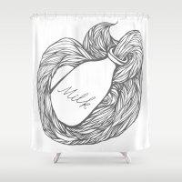 milk Shower Curtains featuring MILK by UMPAPART