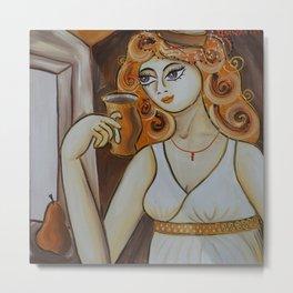 Portrait of a burlesque girl with mug brown painting by Ksavera Metal Print