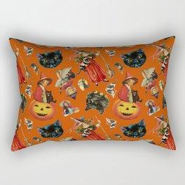 Vintage Black Cat Halloween Toss in Pumpkin Spice Rectangular Pillow