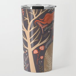 Whimsical Woodland Aesthetic Scene, Fox and Unicorn Travel Mug